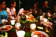 """Photograph : Cooking together at """"the Curry Competition"""""""